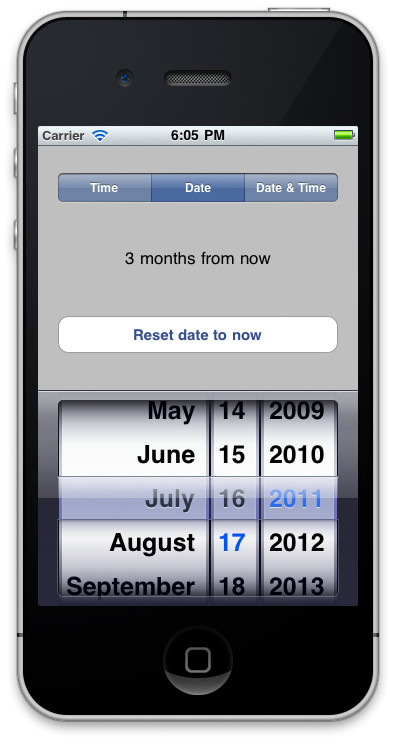 Screenshot in Date mode
