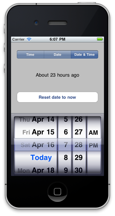 Screenshot in Date and Time mode